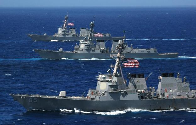 US_Navy_060618-N-8492C-066_Three_Arleigh_Burke-class_guided-missile_destroyers,_the_USS_McCampbell_(DDG_85),_USS_Lassen_(DDG_82)_and_USS_Shoup_(DDG_86)_steam_in_formation_during_a_photo_exercise_(PHOTOEX)_for_Valiant_.jpg