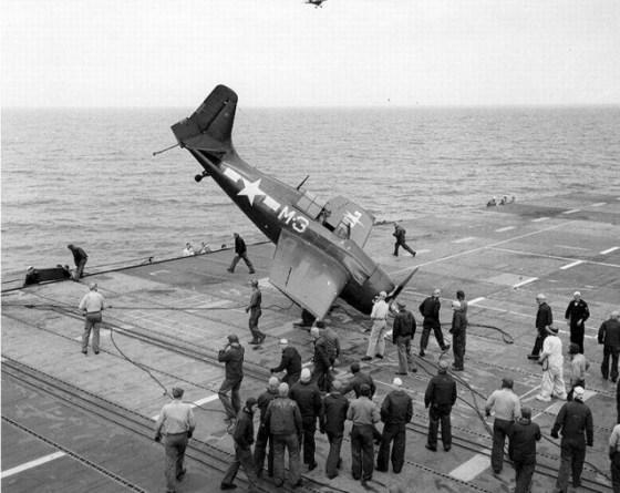 A Hellcat cracks up on the deck of the USS Sable. (Image source: WikiCommons)